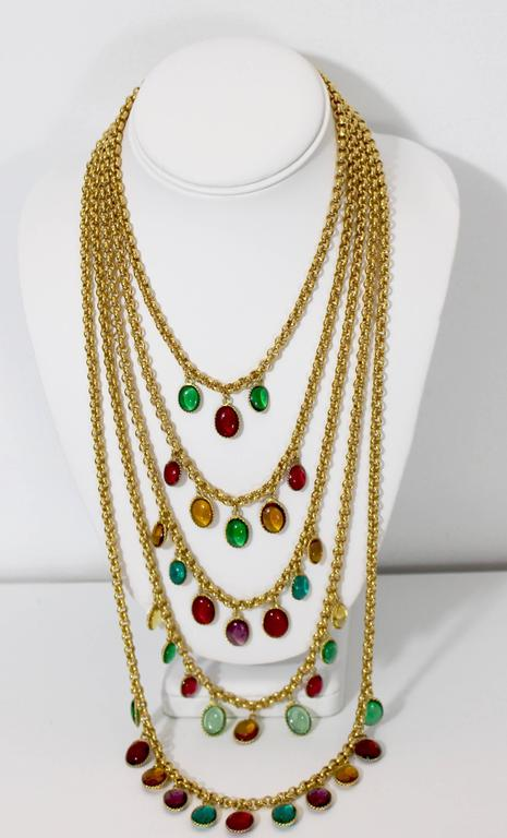 Rare Vintage Chanel 5 Strand Gold Chain Colorful Gripoix Bead Necklace 1980s For Sale 4