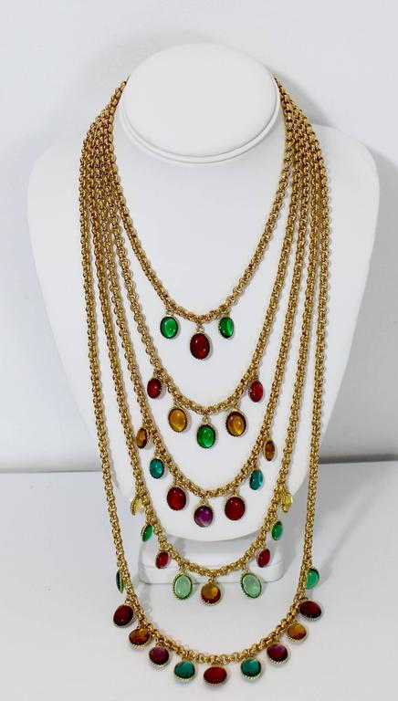 Rare Vintage Chanel 5 Strand Gold Chain Colorful Gripoix Bead Necklace 1980s For Sale 5
