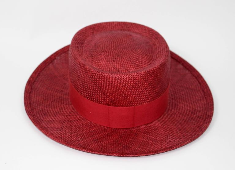 Vintage Chanel Cherry Red Straw Hat 3