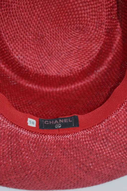 Vintage Chanel Cherry Red Straw Hat 4