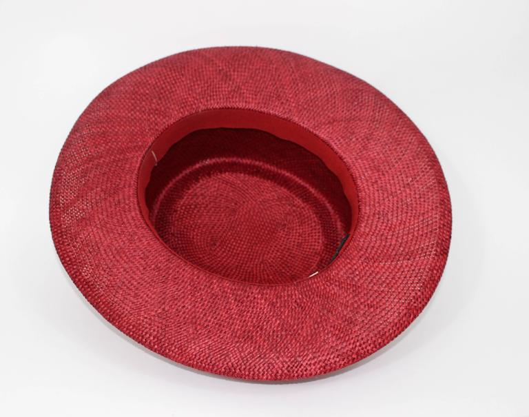 Vintage Chanel Cherry Red Straw Hat 5