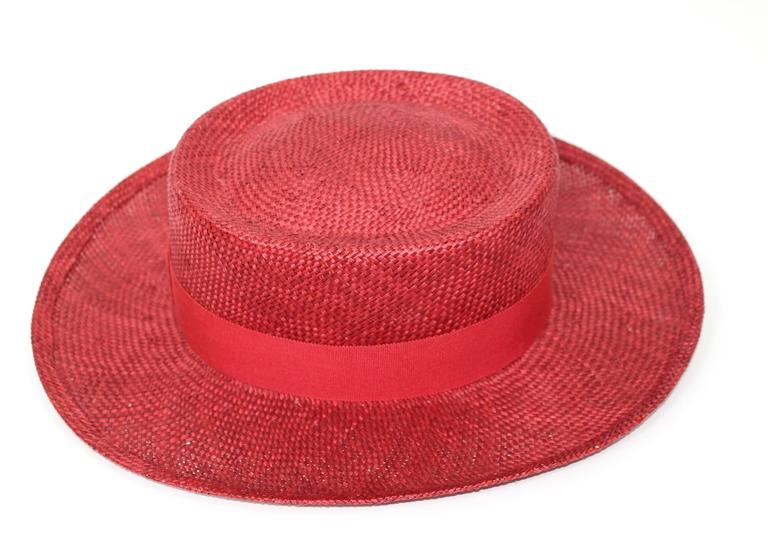 Vintage Chanel Cherry Red Straw Hat 6