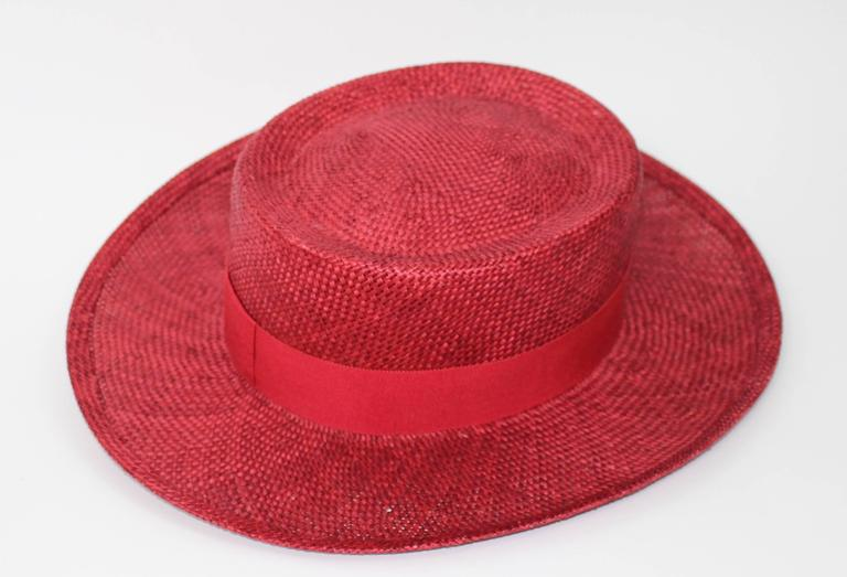 Vintage Chanel Cherry Red Straw Hat 7
