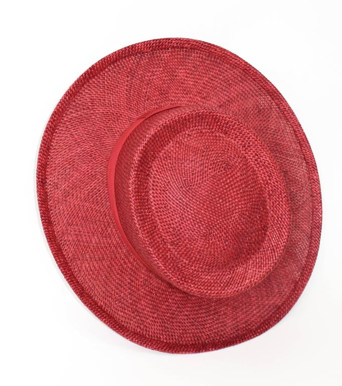 Vintage Chanel Cherry Red Straw Hat 8