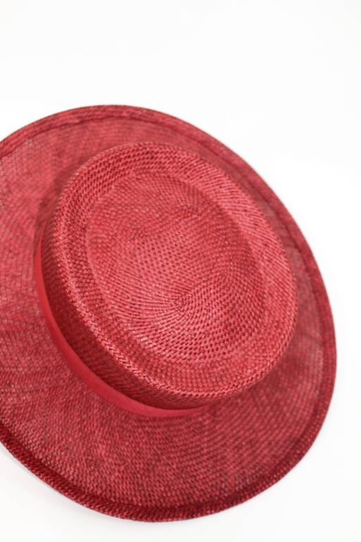 Vintage Chanel Cherry Red Straw Hat 9