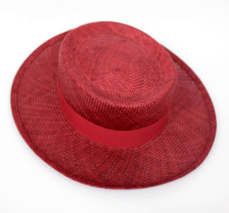 Vintage Chanel Cherry Red Straw Hat 2