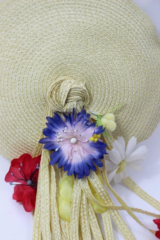 Vintage Yves Saint Laurent Floral Beret/ hat For Sale 1