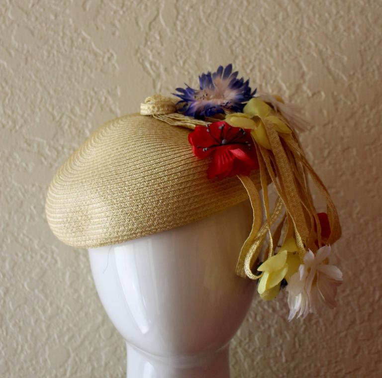 Vintage Yves Saint Laurent Floral Beret/ hat In Excellent Condition For Sale In Boca Raton, FL