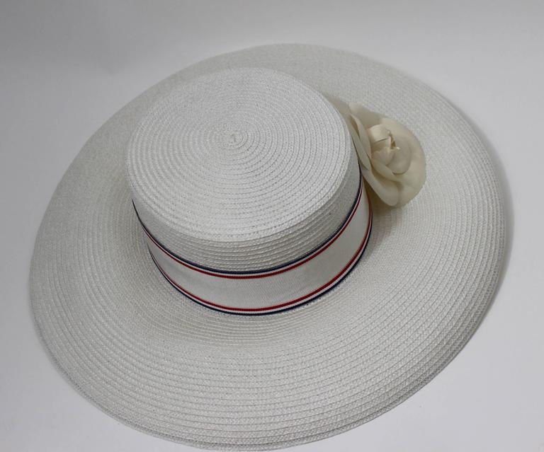 Gray Vintage Chanel White Hat w/ Camellia Flower & Ribbon Trim For Sale