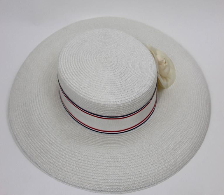 Vintage Chanel White Hat w/ Camellia Flower & Ribbon Trim In Excellent Condition For Sale In Boca Raton, FL