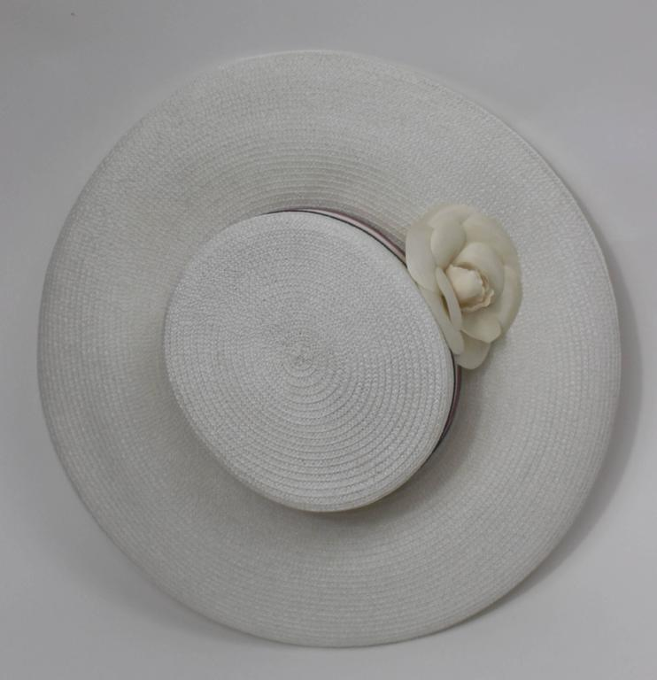 Vintage Chanel White Hat w/ Camellia Flower & Ribbon Trim 5