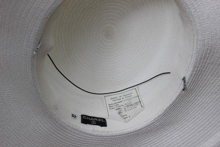 Vintage Chanel White Hat w/ Camellia Flower & Ribbon Trim For Sale 4