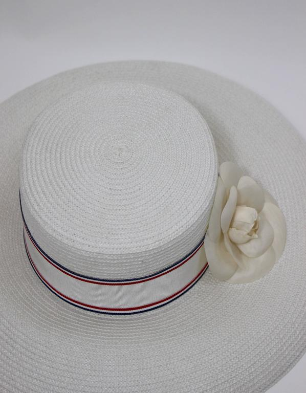Vintage Chanel White Hat w/ Camellia Flower & Ribbon Trim For Sale 1