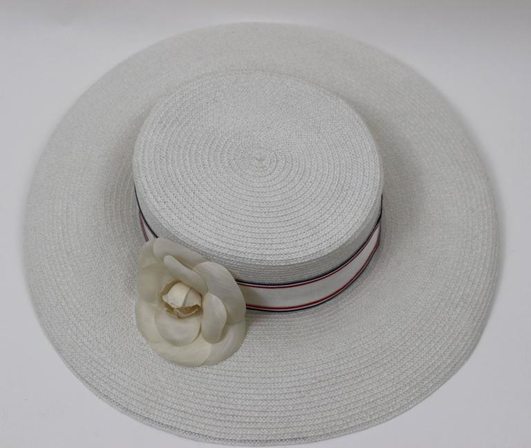 Vintage Chanel White Hat w/ Camellia Flower & Ribbon Trim For Sale 3