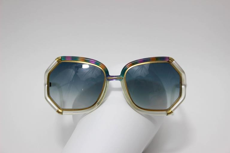 Women's 1970s Ted Lapidus Rainbow Frame Sunglasses & Shades For Sale