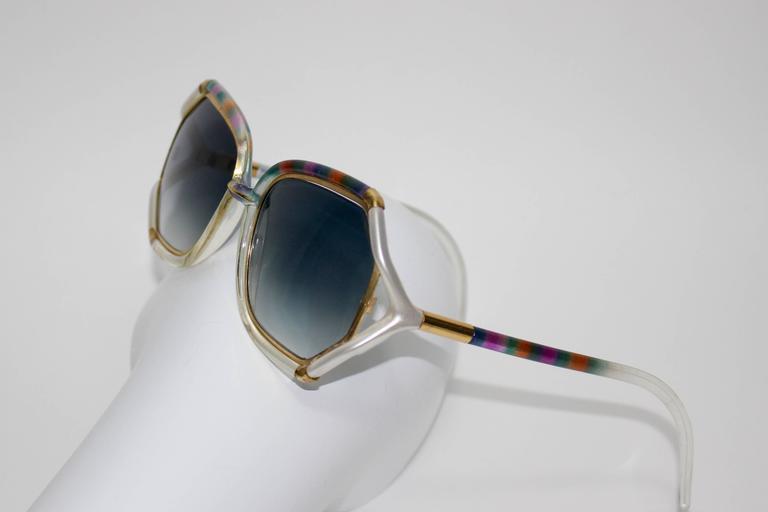 1970s Ted Lapidus Rainbow Frame Sunglasses & Shades For Sale 1