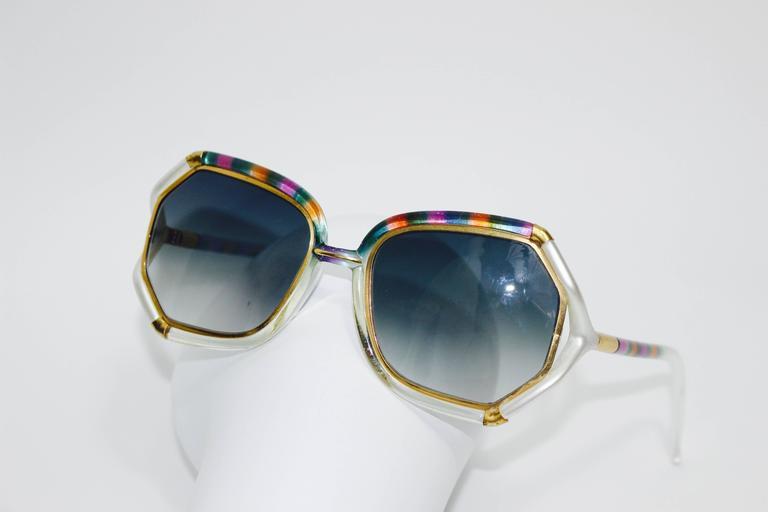 1970s Ted Lapidus Rainbow Frame Sunglasses & Shades For Sale 2