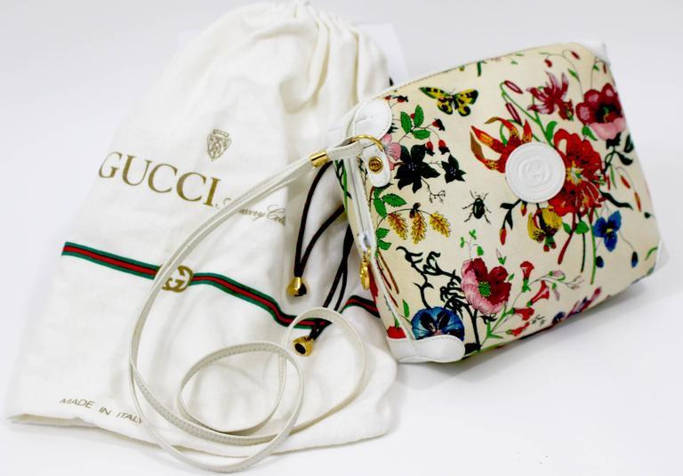 Vintage Gucci Floral Canvas White Leather Cross Body Shoulder Bag Purse At 1stdibs