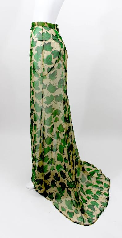 Gray Dolce & Gabbana Sheer Silk Beige & Green Leaf Print Maxi Skirt with Train For Sale