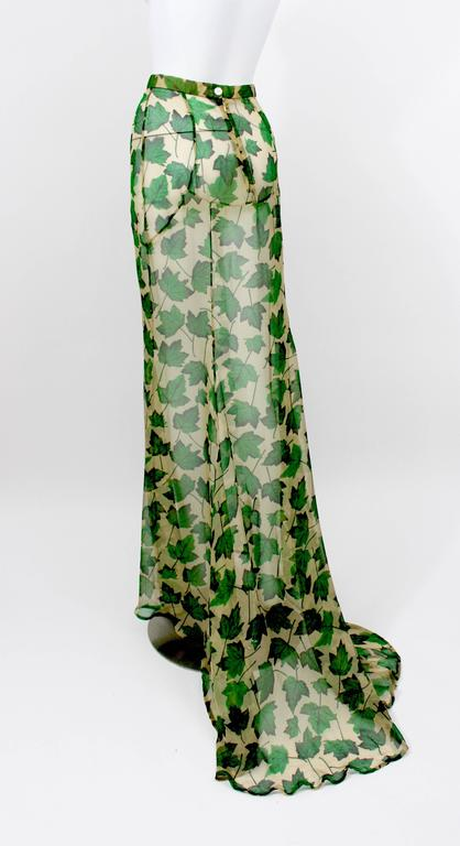 Dolce & Gabbana Sheer Silk Beige & Green Leaf Print Maxi Skirt with Train In Excellent Condition For Sale In Boca Raton, FL