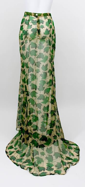 Women's Dolce & Gabbana Sheer Silk Beige & Green Leaf Print Maxi Skirt with Train For Sale
