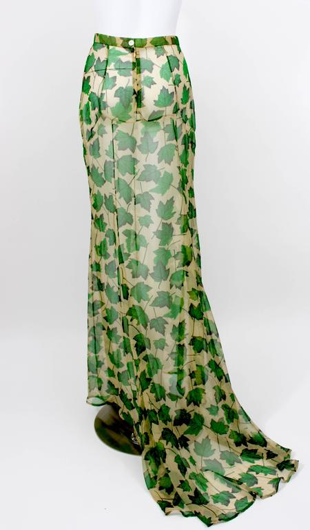 Dolce & Gabbana Sheer Silk Beige & Green Leaf Print Maxi Skirt with Train For Sale 1