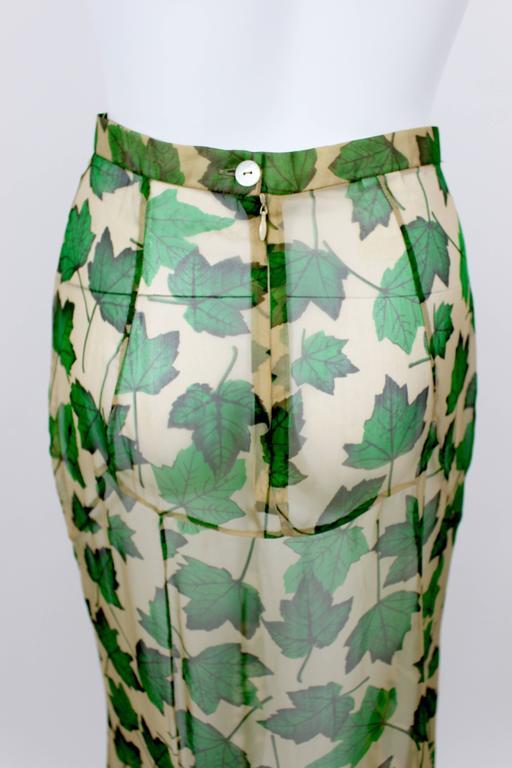 Dolce & Gabbana Sheer Silk Beige & Green Leaf Print Maxi Skirt with Train For Sale 2