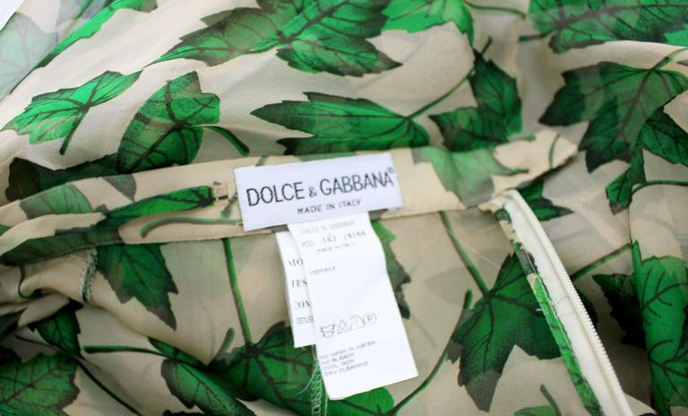 Dolce & Gabbana Sheer Silk Beige & Green Leaf Print Maxi Skirt with Train For Sale 3