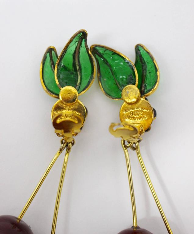 Vintage Chanel Gripoix Cherry Earrings  For Sale 2