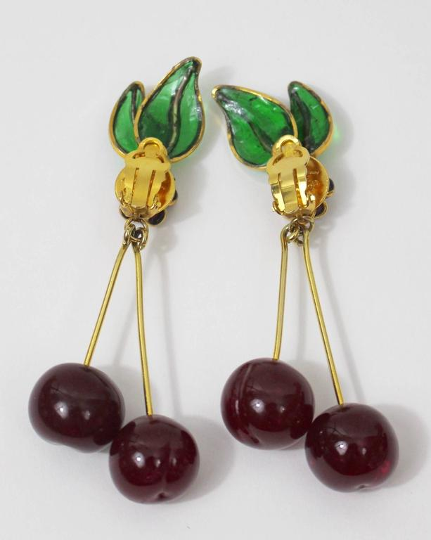 Vintage Chanel Gripoix Cherry Earrings  In Good Condition For Sale In Boca Raton, FL