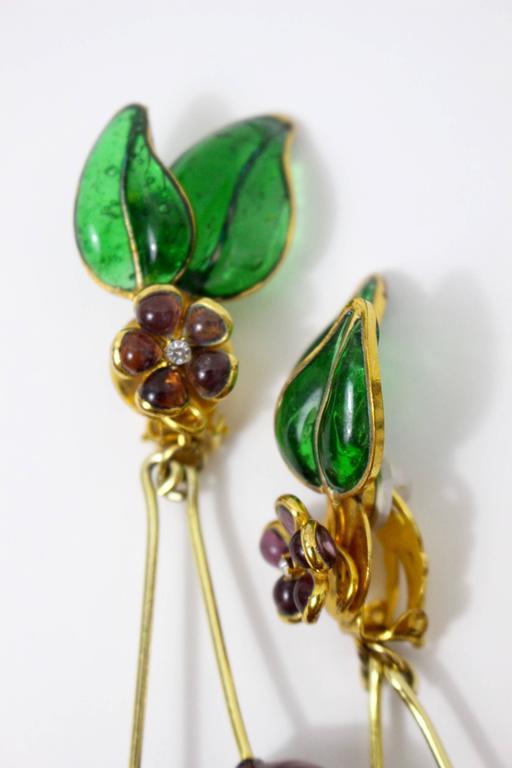 Vintage Chanel Gripoix Cherry Earrings  5