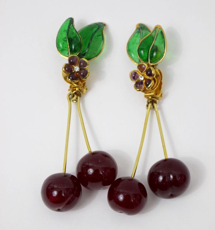 Modern Vintage Chanel Gripoix Cherry Earrings  For Sale
