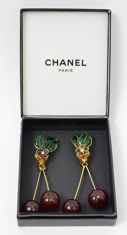 Vintage Chanel Gripoix Cherry Earrings  2