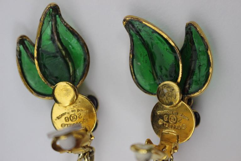 Vintage Chanel Gripoix Cherry Earrings  For Sale 3