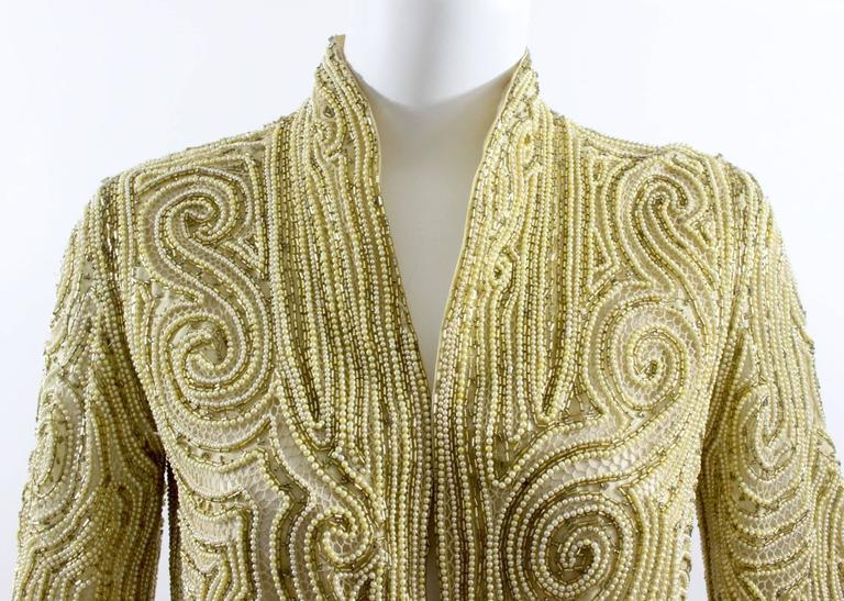 1970s Halston Hand Embroidered Beads & Golden Pearl Silk Organza Jacket 3