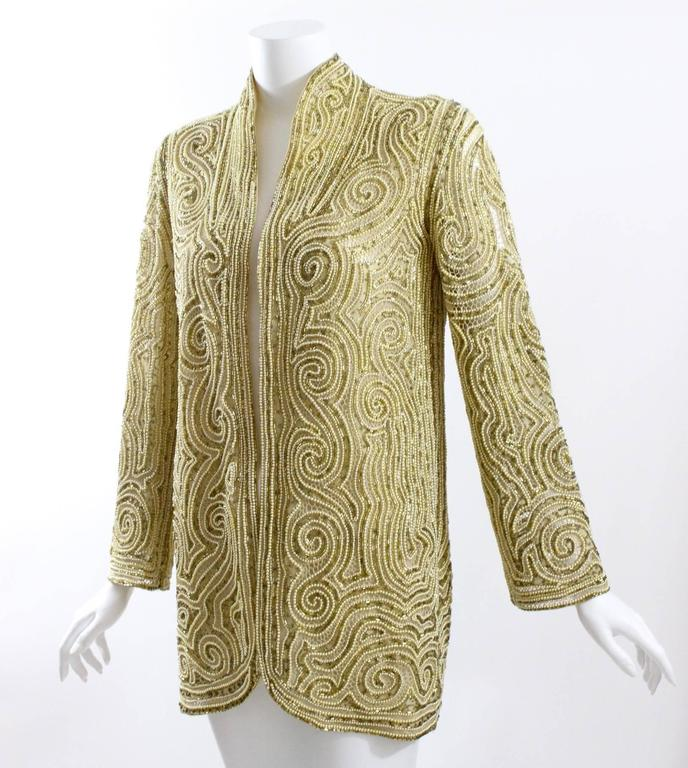 1970s Halston Hand Embroidered Beads & Golden Pearl Silk Organza Jacket 5