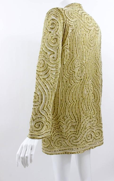 1970s Halston Hand Embroidered Beads & Golden Pearl Silk Organza Jacket 6