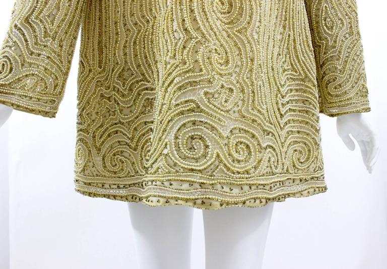 1970s Halston Hand Embroidered Beads & Golden Pearl Silk Organza Jacket 7