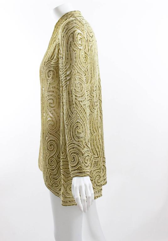 1970s Halston Hand Embroidered Beads & Golden Pearl Silk Organza Jacket 8