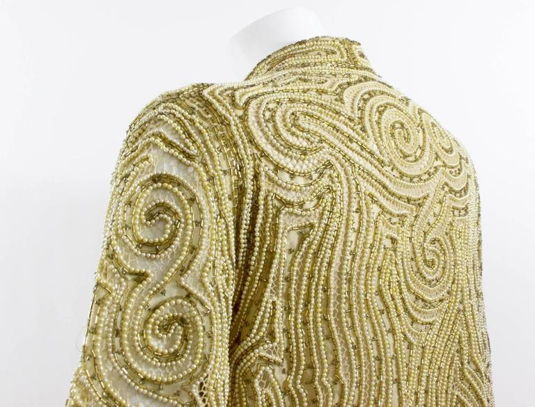 1970s Halston Hand Embroidered Beads & Golden Pearl Silk Organza Jacket 4