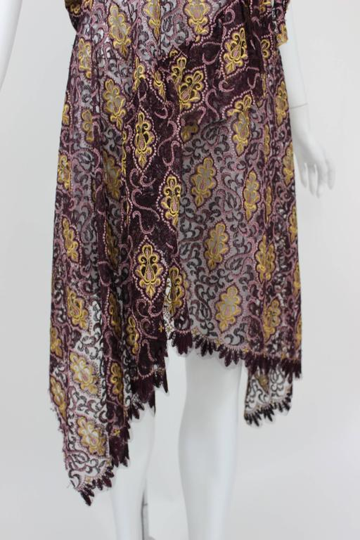 Junya Watanabe Comme des Garcons Burgundy Purple Gold Lace Kimono Sleeve Dress For Sale 3