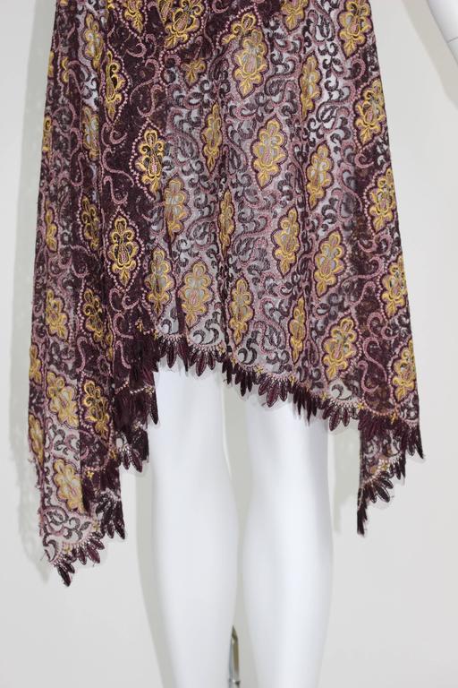 Junya Watanabe Comme des Garcons Burgundy Purple Gold Lace Kimono Sleeve Dress For Sale 4
