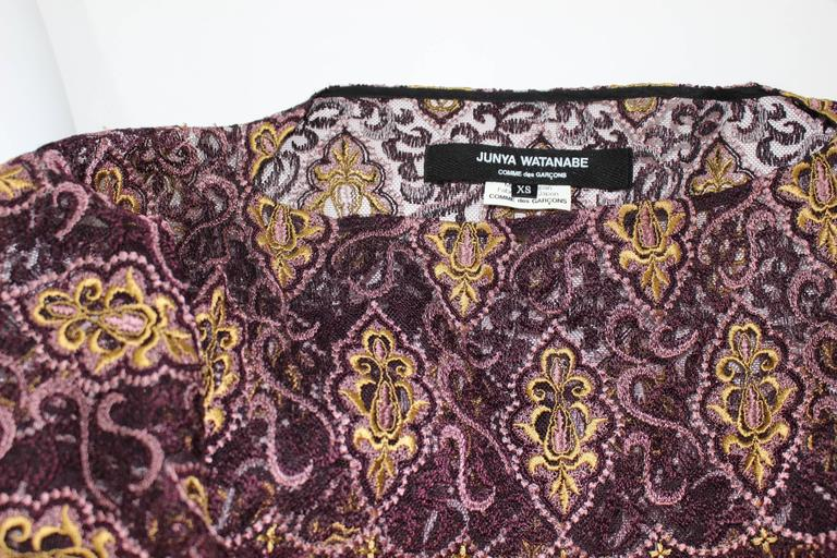 Junya Watanabe Comme des Garcons Burgundy Purple Gold Lace Kimono Sleeve Dress For Sale 5