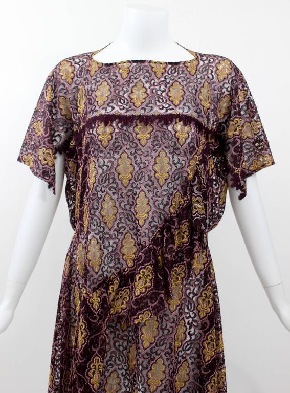 Junya Watanabe Comme des Garcons Burgundy Purple Gold Lace Kimono Sleeve Dress For Sale 1