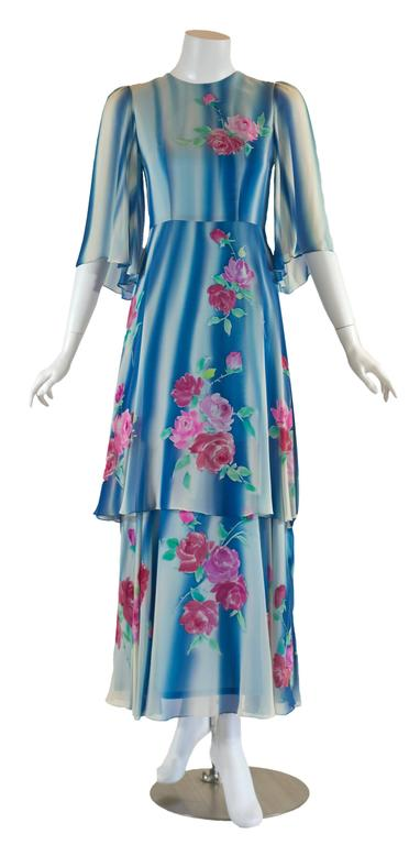 1970s Blue and White Silk Chiffon Floral Layered Angel Sleeve Dress 2