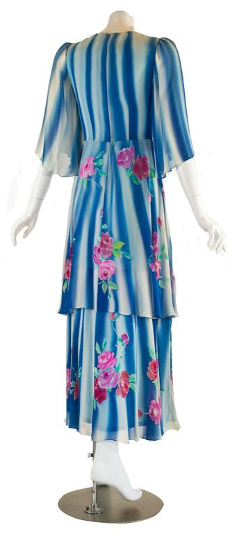 1970s Blue and White Silk Chiffon Floral Layered Angel Sleeve Dress 4