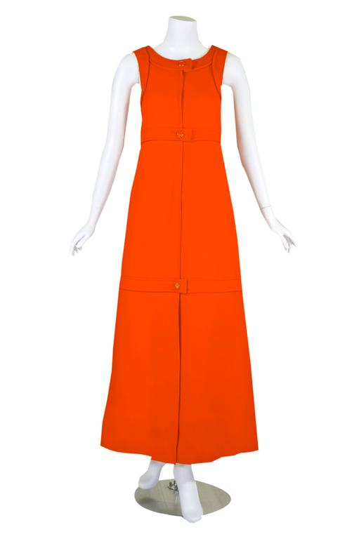Red 1960s Courreges Haute Couture Orange A-line Sleeveless Wool Maxi Dress For Sale