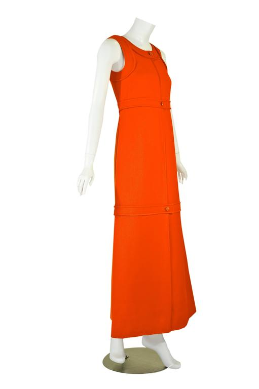 1960s Courreges Haute Couture Orange A-line Sleeveless Wool Maxi Dress In Excellent Condition For Sale In Boca Raton, FL