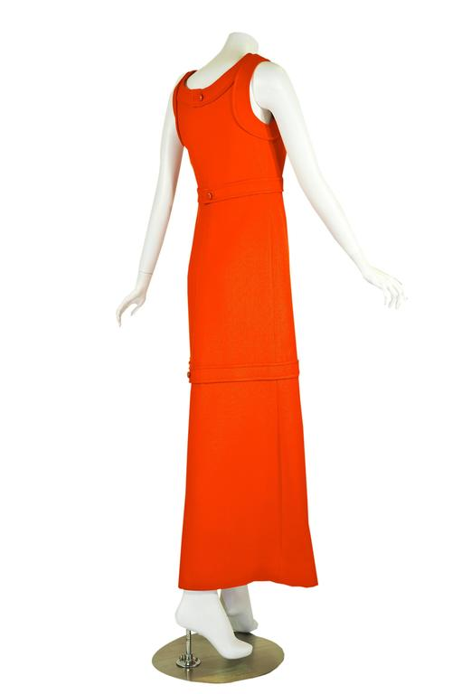 Women's 1960s Courreges Haute Couture Orange A-line Sleeveless Wool Maxi Dress For Sale