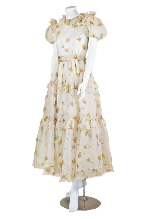 1970s Bill Blass Floral Print Silk Organza  Ruffled  Party Dress Gown 3
